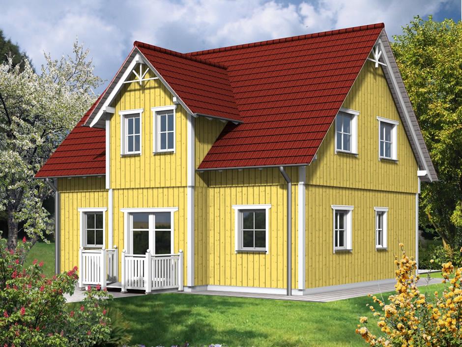 haustyp fuges holzhaus mit zwerchgiebel wohnen auf zwei ebenen. Black Bedroom Furniture Sets. Home Design Ideas